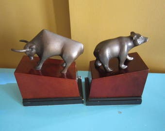 Pair Of Vintage Bull And Bear Bookends Crafted In Bronze Mounted On Wood  Bases, The Bull And Bear Of Wall Street Book Ends