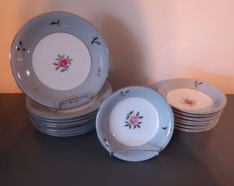 "Seyei Fine China Plates, ""Bella Maria"" Design, Salad Plates, Fruit/Dessert Plates, Set of 16"