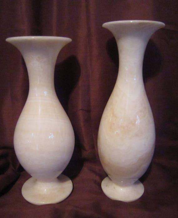 Pair Of Ivory Marble Vases Natural Stone White Marble Vases Etsy
