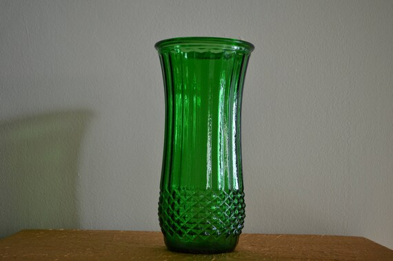 Vintage Green Vase Made By Hoosier Glass Etsy