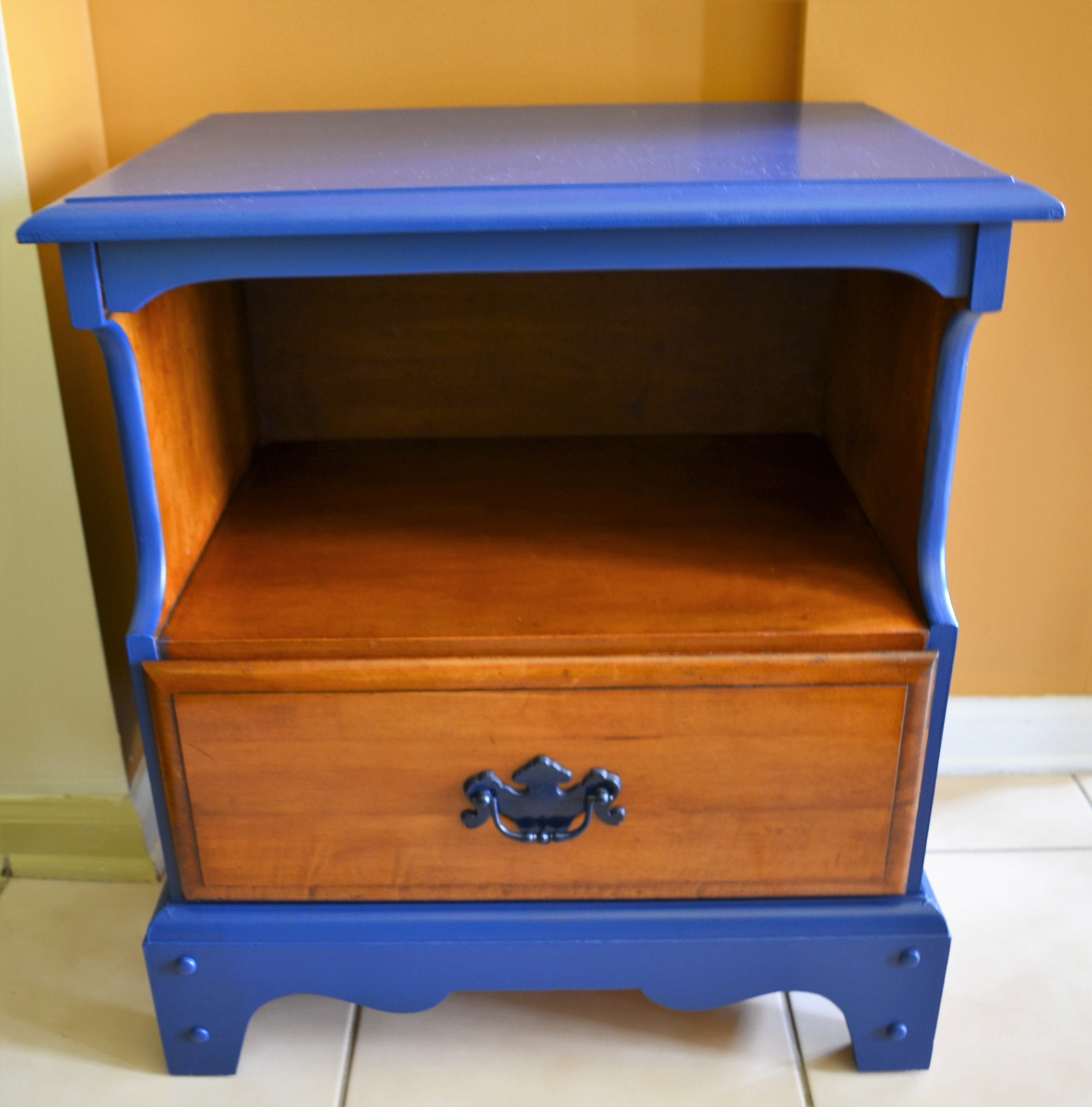 Vintage Wood Nightstand Blue Night Stand Painted Furniture Etsy