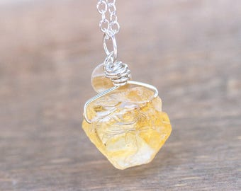 Raw Citrine Necklace - Rough Citrine Necklace -  Raw Citrine Pendant - Citrine Pendant - Raw Crystal Necklace - Rough Crystal Necklace