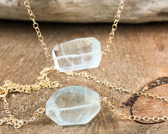Raw Aquamarine Necklace - Raw Crystal Necklace - Aquamarine Jewelry - March Birthstone Jewelry - Gift for Her - Healing Crystal Necklace