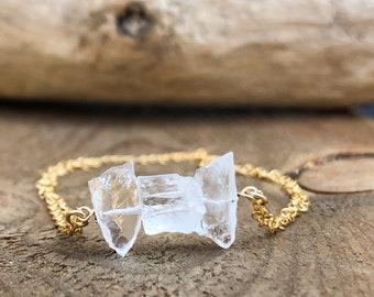 April Birthstone Bracelet - Raw Crystal Quartz Bracelet - Raw Crystal Bracelet - Healing Crystal Bracelet - Gift for Her