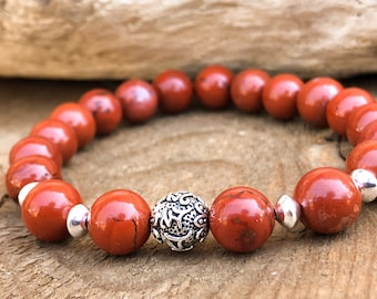 Wrist Mala - Healing Crystals - Chakra Bracelet - Red Jasper Bracelet - Stacking Bracelet - Yoga Bracelet - Mantra Bracelet