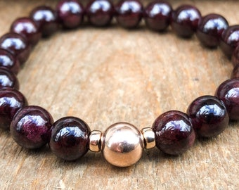 Garnet Root Chakra Stacking and Healing Bracelet in Silver Silver, Gold or Rose Gold - January Birthstone Bracelet - Birthstone Jewelry