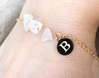 Engraved April Birthstone Bracelet - Raw Crystal Quartz Bracelet - Raw Crystal Bracelet - Healing Crystal Bracelet - Gift for Her