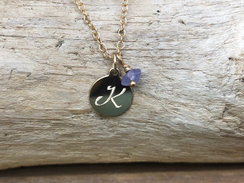 December Birthstone Jewelry Engraved Initial Necklace Personalized Necklace Raw Crystal Necklace Custom Initial Birthstone Necklace