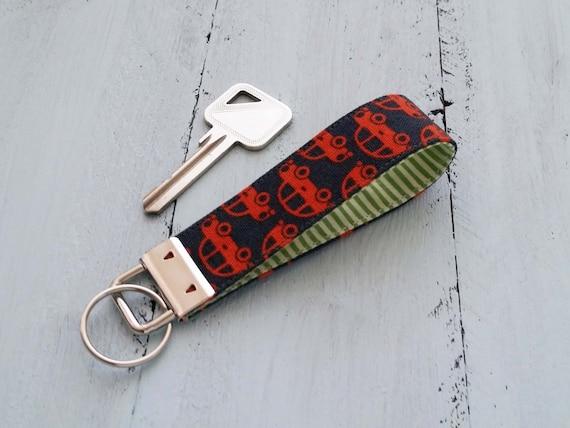 Fabric Key Fob Fabric Key Chain Cute Keychain Fobs Fabric Lanyard Orange Keychain Car Key Lanyard Fabric Key Holder Beetle Car Orange