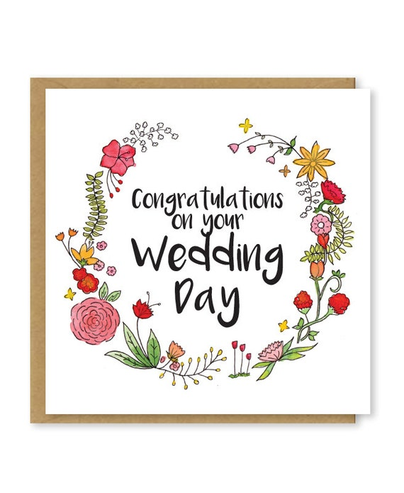 Wedding Card Congratulations On Your Wedding Day Etsy