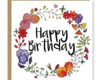 Birthday card | Floral birthday card | Happy birthday flowers