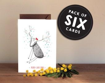 Set of 6 - Cute Christmas Cards - Hand drawn Reindeer red hat - Textured fun cute xmas greetings card