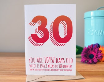 30th birthday card | Personalised this card with their name | Personalised age card | 30 today!