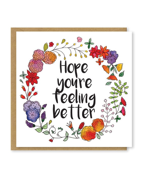 Items similar to Hope you're feeling better card | Get ...