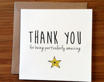 Thank You card / Appreciation Card / You're amazing a star / Printed modern greetings card