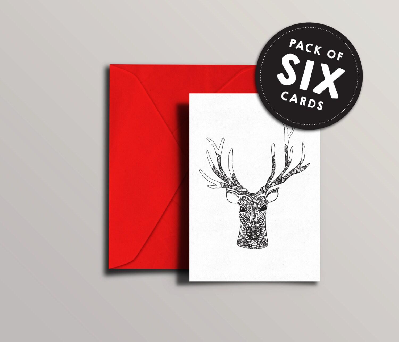 Reindeer Christmas Card Funky illustrated deer xmas card | Etsy