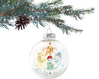 Generation 1 - Starter Pokemon Ornament - Christmas Ornament - Pokemon Decor - Pokemon Gift - Pokemon Decoration - Video Game Ornament
