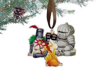 Sunbros Ornament - Wooden Christmas Ornament - Souls Series Christmas Ornament - Geek Christmas Decor - Video Game Ornament - Praise the Sun