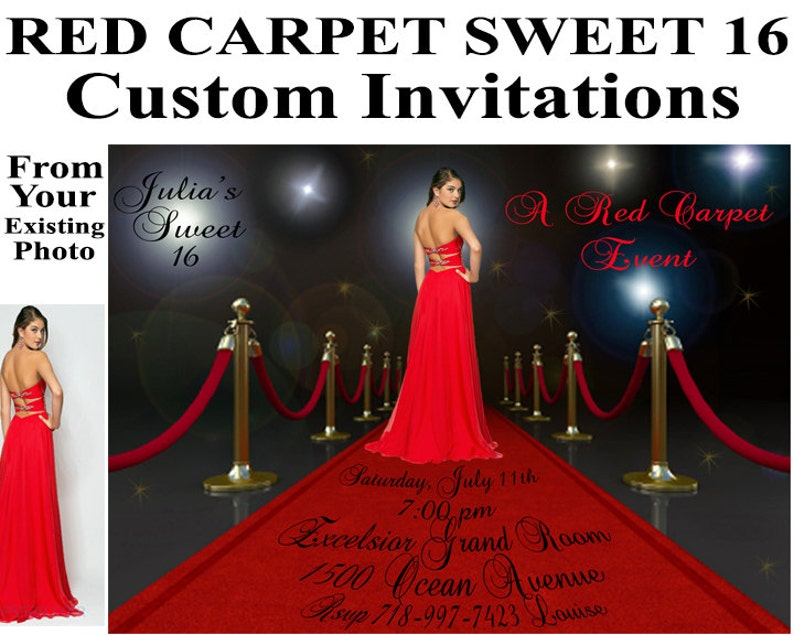 Red Carpet Invitations Sweet 16 Birthday Bridal Shower Custom