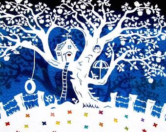 Kid's Room Art, Wall Art, Papercut, Papercutting, Paper Cutting, Papercut Art, Treehouse, Gift Art, Happy Art, Wall decor, France, Whimsical
