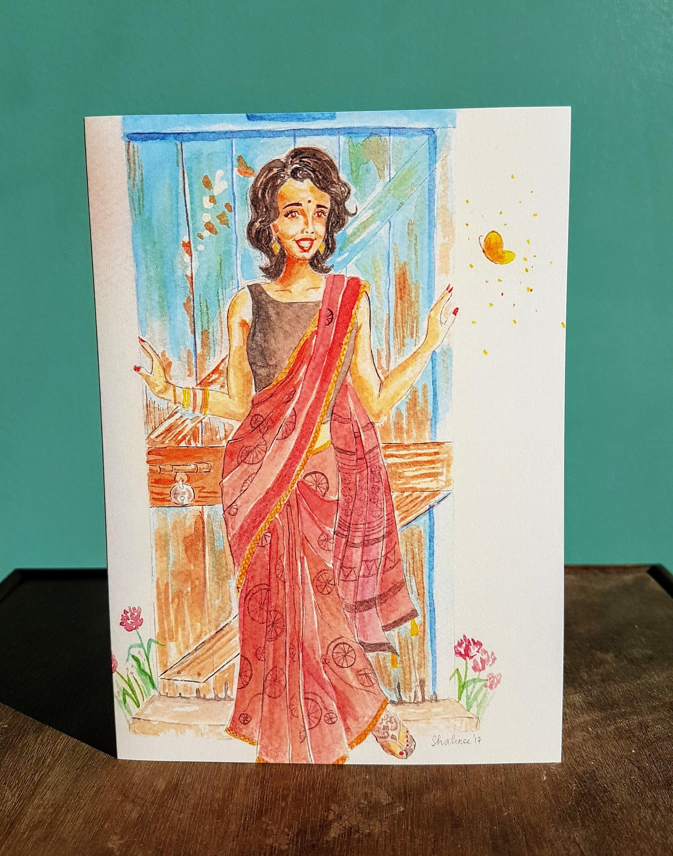 Greeting Card India India Art Art Print Cards Watercolor Etsy