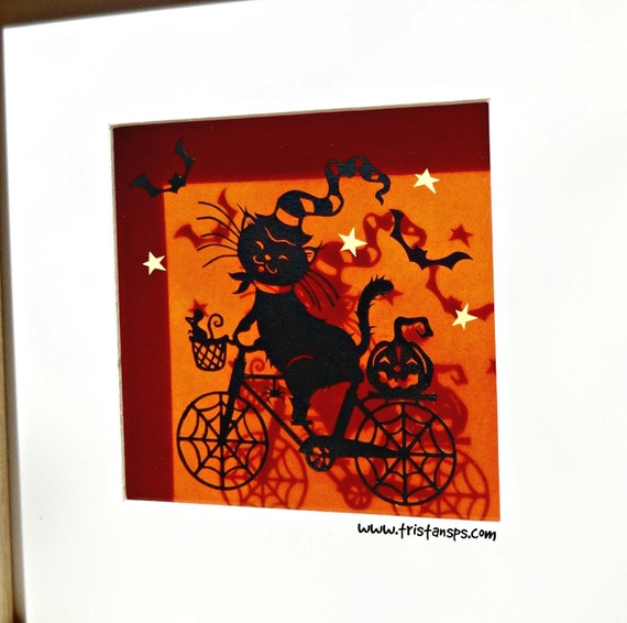 papercut template halloween kitty witch pdf download papercut etsy