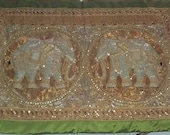 Large Burmese Kalaga 2 elephants, tapestry art, handmade wall hanging.