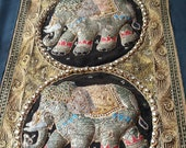 Vintage handmade Thai Kalaga tapestry, wall hung, 3 elephants, embriodery.