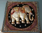 Vintage elephant kalaga pillowcase from Thailand.