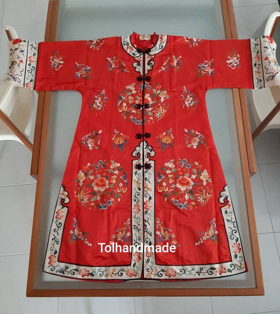 Vintage Red Chinese embriodery long overcoat with… - image 3