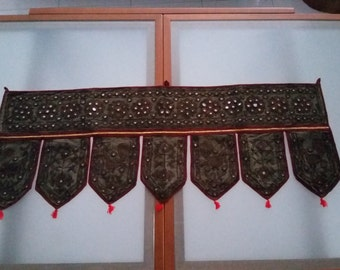 Vintage Indian door topper. Hand embriodery and mirror work. Decorative wall hanging