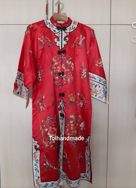 Vintage Red Chinese embriodery long overcoat with