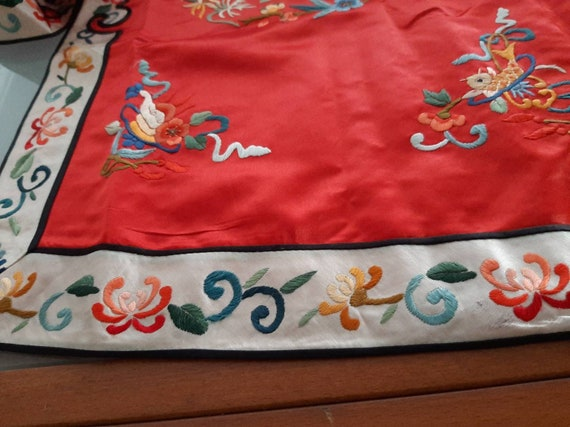 Vintage Red Chinese embriodery long overcoat with… - image 9