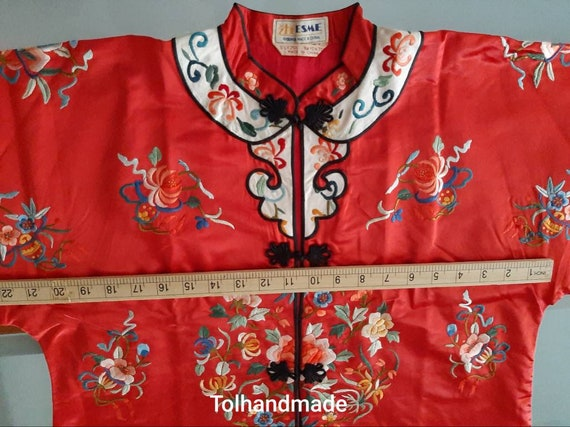 Vintage Red Chinese embriodery long overcoat with… - image 7