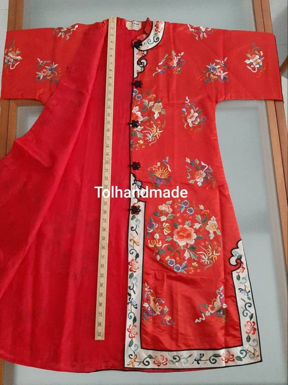 Vintage Red Chinese embriodery long overcoat with… - image 5