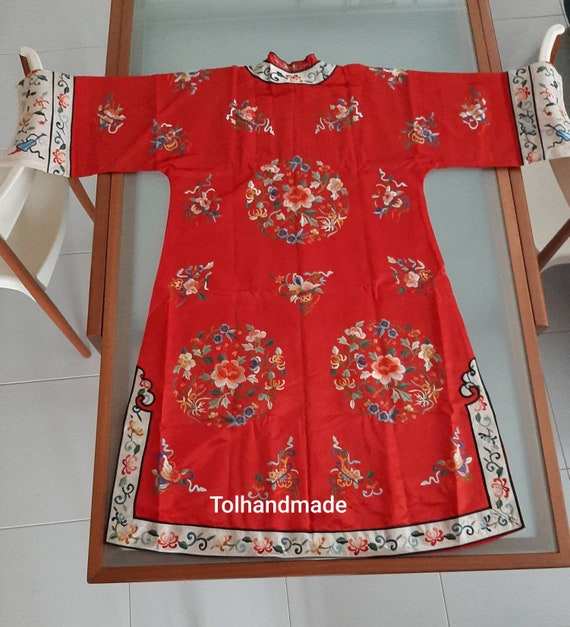 Vintage Red Chinese embriodery long overcoat with… - image 4