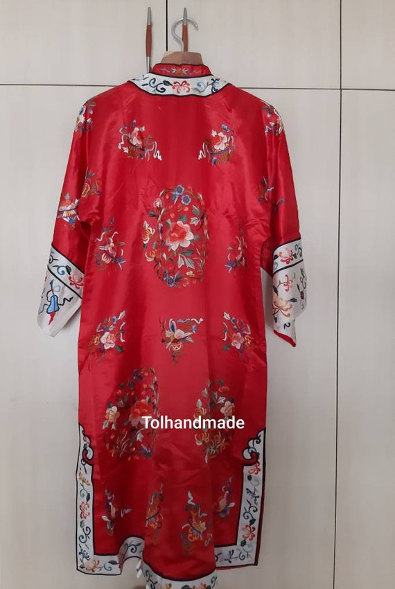 Vintage Red Chinese embriodery long overcoat with… - image 2