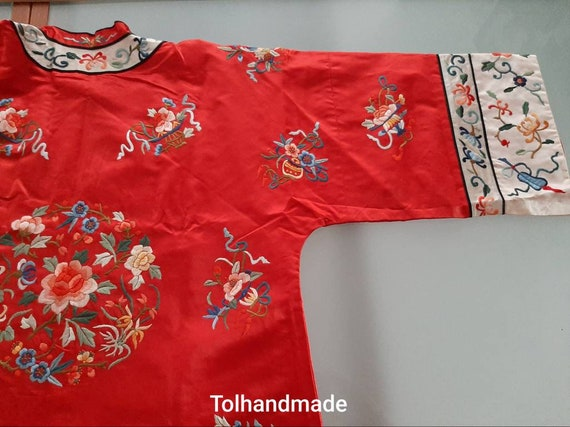 Vintage Red Chinese embriodery long overcoat with… - image 6