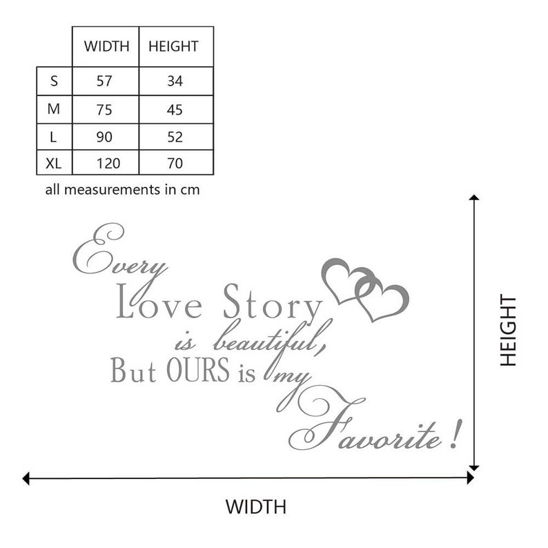 but ours is my favorite-Vinyl Wall Quotes Decal for Living-room Every love story is beautiful Bedroom,Love Wall Quote #8122Q