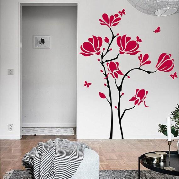Magnolie Blumen Wandtattoo für Wohnzimmer, Schlafzimmer, Büro, Studie und  schöne Blumen-Wandaufkleber #813F