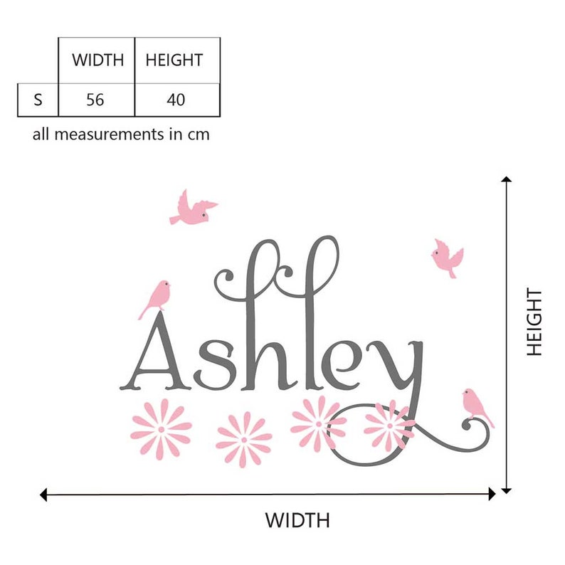 Personalised Girl Name with Birds and Flowers Flying Birds and Flowers Wall Decal for Bedroom-Custom Girl Name Nursery wall decal  #835C