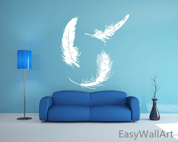 feathers wall decal feather wall art sticker feather decal | etsy