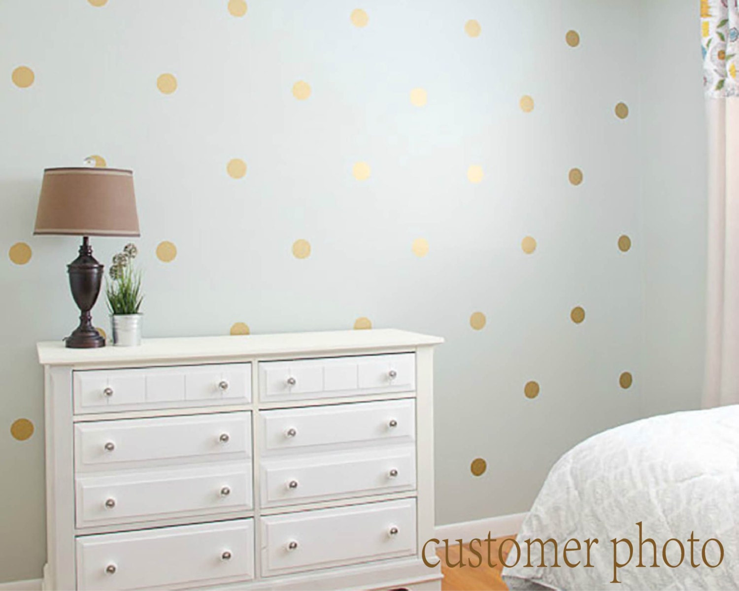 Gold Polka Dots Wall Decal Gold Polka Dot Decal Metallic Etsy
