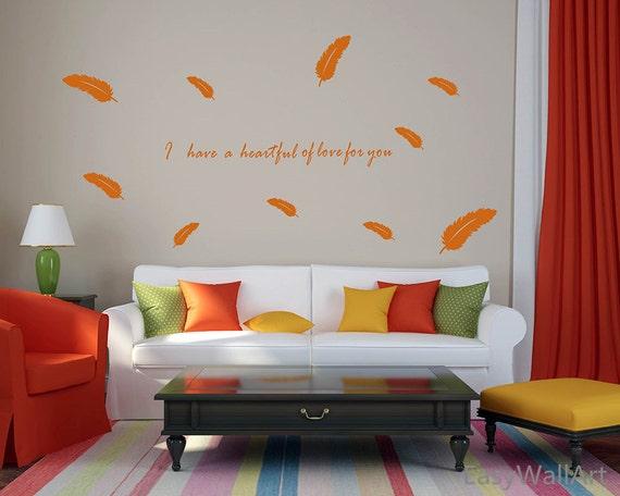 Federn-Wandtattoo Sprüche Aufkleber für Wohnzimmer, Schlafzimmer, Zimmer &  tolle Zitate, Feder Wand Schriftzug Wand Aufkleber #Q180