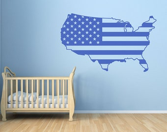 usa map wall decal usa map decal american map vinyl wall art decor for