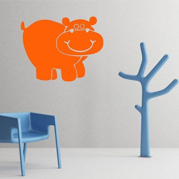 Hippo Wall Decal Hippo Wall Decor Hippo Vinyl Wall Art | Etsy