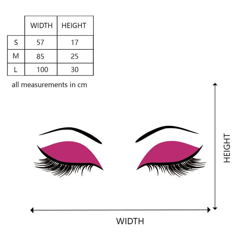 Eyelashes Wall Decal Make Up Fashion Vinyl Wall Art Decor for Living-room Decal Bedroom Decal,Office,Beauty Wall Stickers#863M