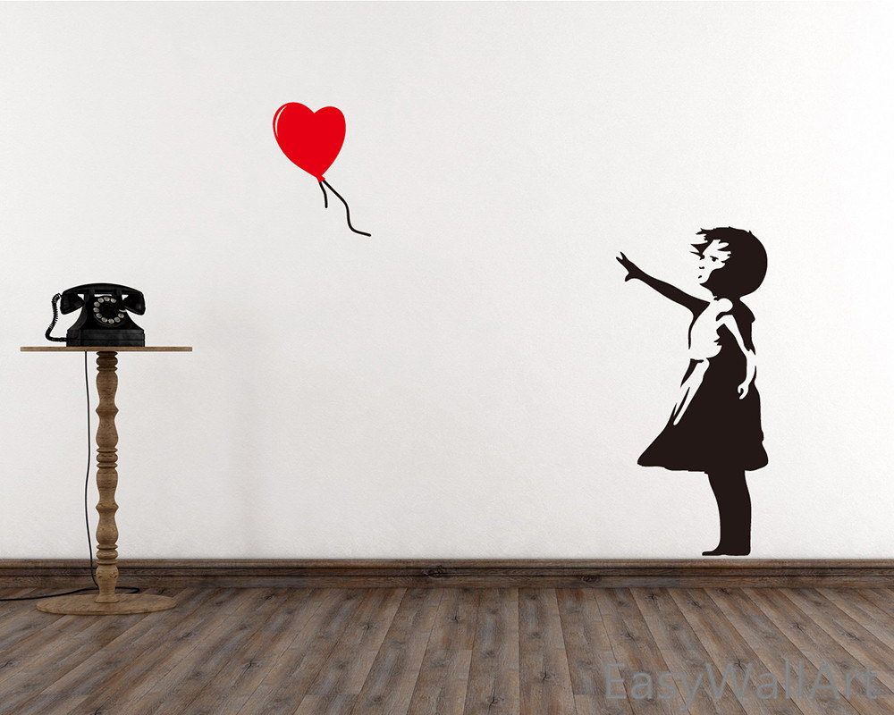 Banksy Wall Decal Girl With Balloon Heart Wall Decal Etsy
