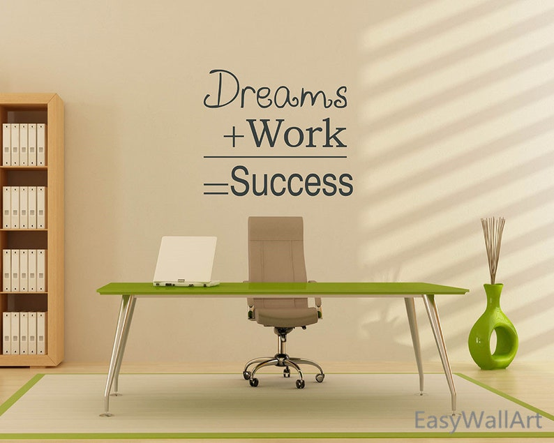 office wall decal dream work success office wall quotes | etsy