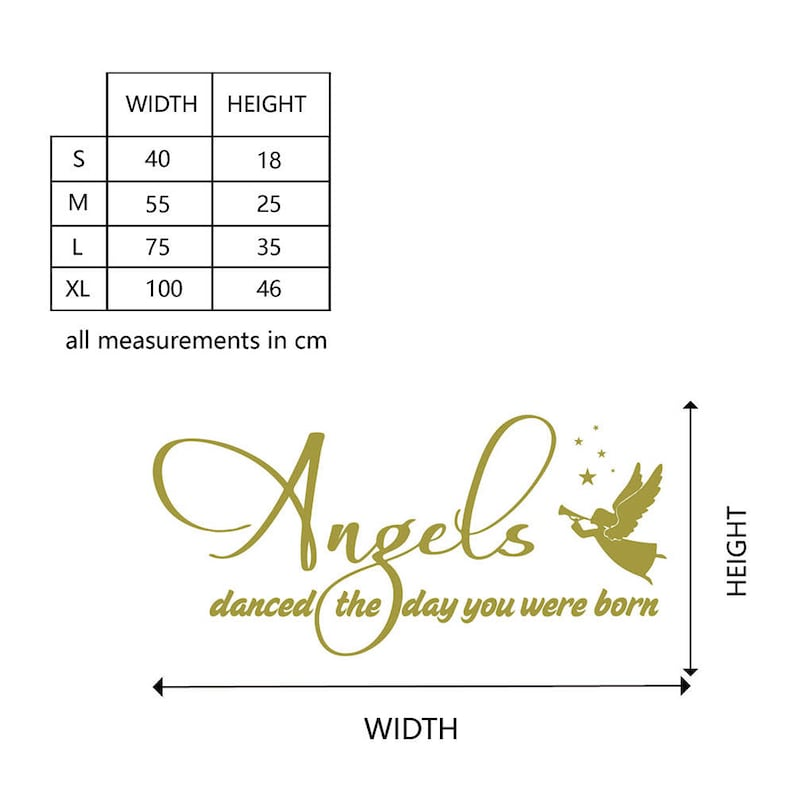 Wall Decal Kids Nursery Wall Decal Family Decor  #742Q Inspirational Quote Angels Danced Quotes Wall Decal